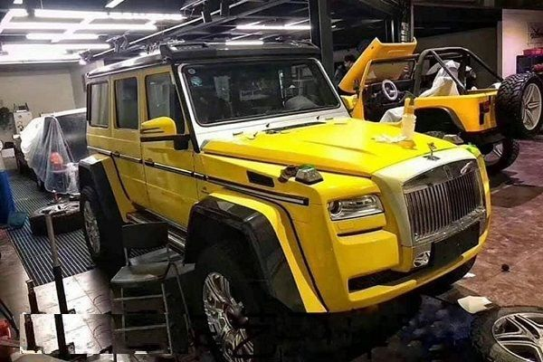 Mercedes-Benz-G-Wagon-with-front-grille-and-headlights-of-Rolls-Royce-Ghost