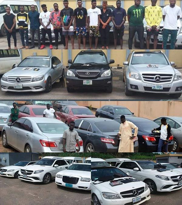 Cars-recovered-from-Nigerian-Yahoo-boys-arrested-by-EFCC