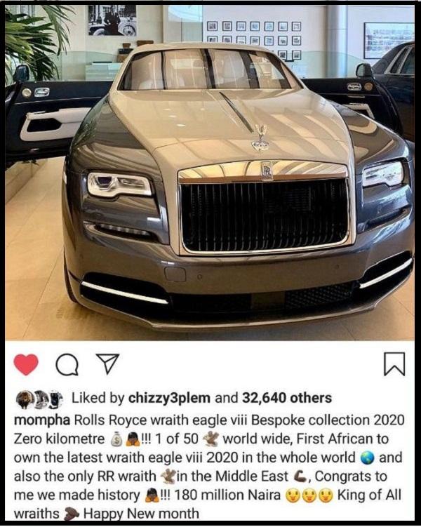 Mompha-Instagram-post-₦180million-Bespoke-2020-Rolls-Royce-Wraith-Eagle-VIII