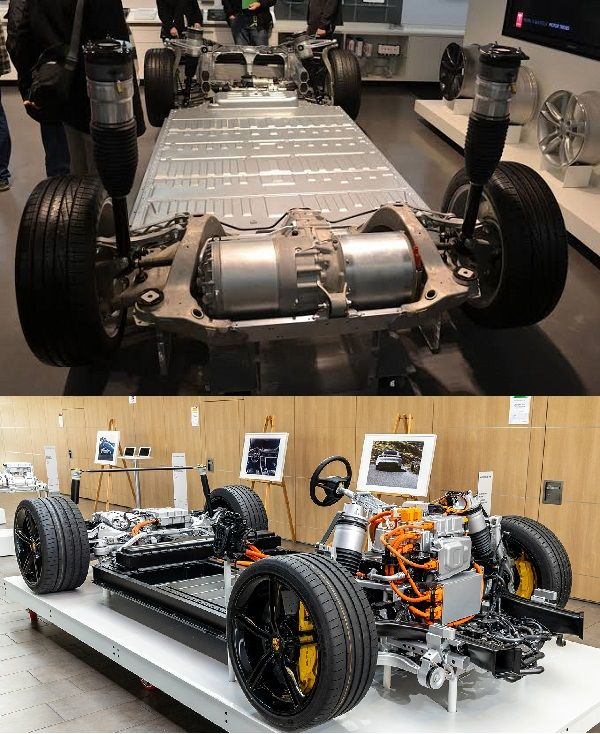 Chassis-of-Tesla-Model-S-and-Porsche-Taycan
