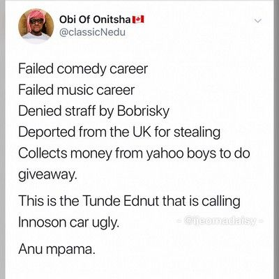 tunde-ednuts-tweet-criticizing-mercys-innoson-suv