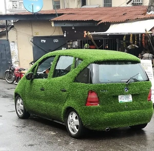 car-wrapped-with-artificial-green-grass