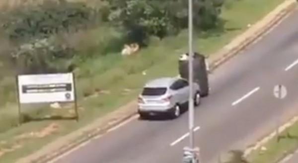 SUV-pushing-trolly-on-road