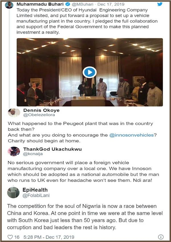 Nigerians-reacts-to-President-Buhari-Twitter-post-on-Hyundai-plant