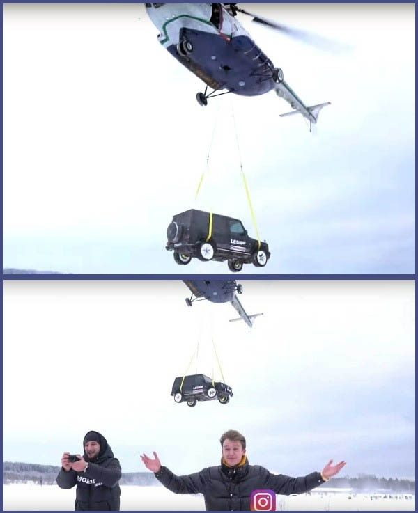 Russian-Vlogger-drops-Mercedes-AMG-G63-into-wreck-from-helicopter