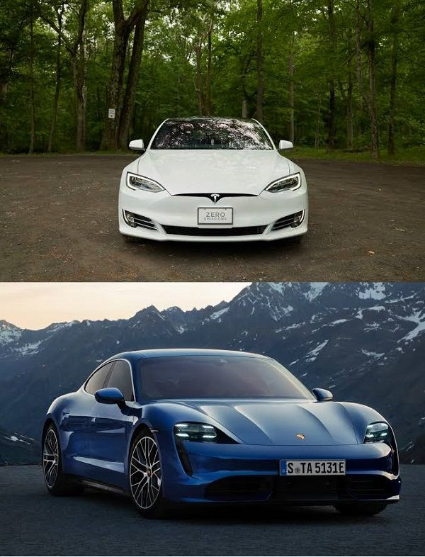 Frontview-of-Tesla-Model-S-and-Porsche-Taycan