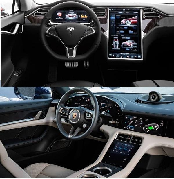 Cockpits-of-Tesla-Model-S-and-Porsche-Taycan