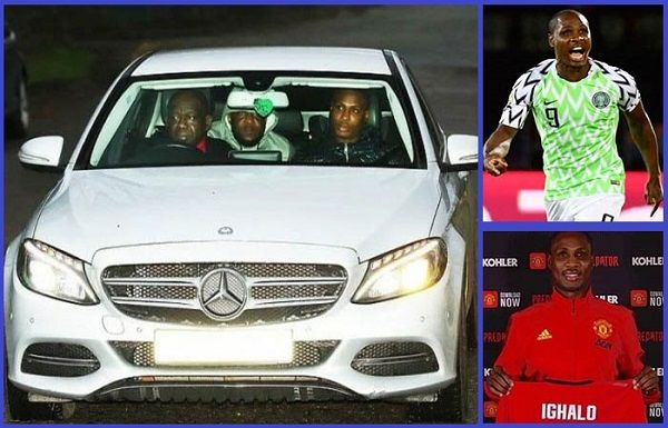 Odion-Ighalo-arrives-Manchester-United-in-Benz-car