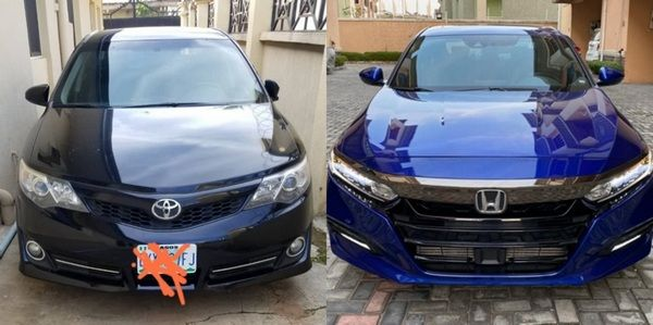 Fronts-of-Toyota-Camry-2019-and-Honda-Accord-2019