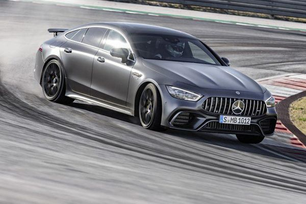 The AMG GT 4 door showing stability while drifitng around a track.