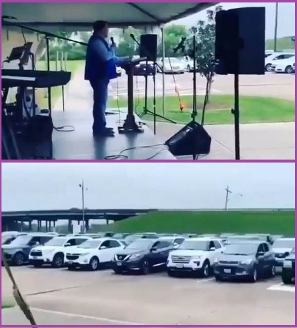 Pastor-holds-church-service-for-members-seated-in-their-cars
