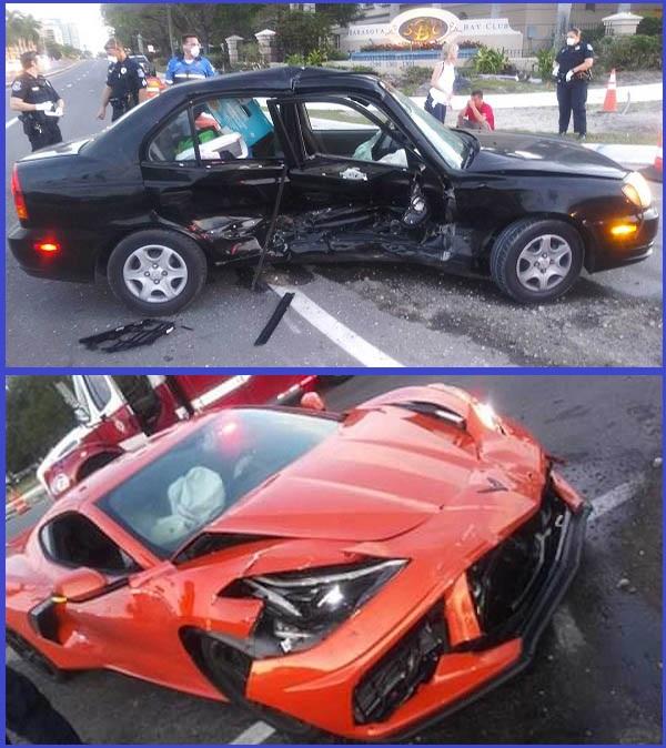 Drunk-driver-crashed-Hyundai-Accent-into-a-2020-Chevy-Corvette-C8-supercar