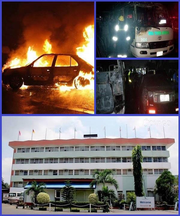 Fire-destroys-Toyota-bus-Honda-car-and-Cadillac-Escalade-SUV-in-Lagos-Airport-Hotel