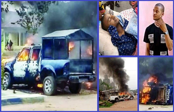 Angry-youths-in-Abia-state-burn-police-patrol-vehicles