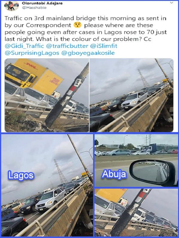Heavy-traffic-spotted-on-3rd-Mainland-bridge-in-Lagos-amidst-lockdown