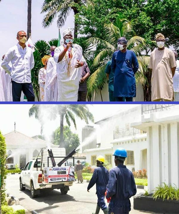 Governor-Sanwo-Olu-receives-donation-of-large-size-fumigators-from-the-Ooni-of-Ife-to-battle-COVID-19-pandemic