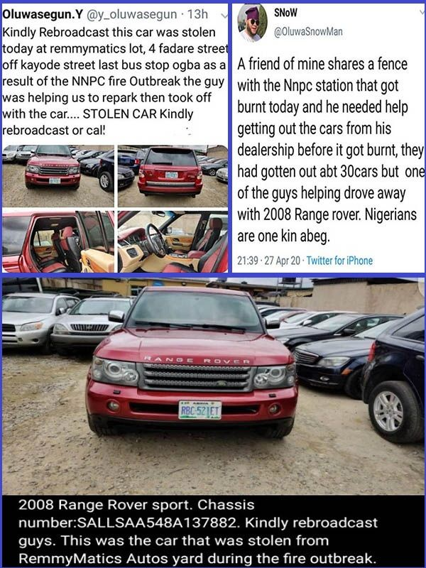 Man-allegedly-stole -a-2008-Range-Rover-Sport-SUV-while-pretending-to-help-during-Lagos-fire-incident