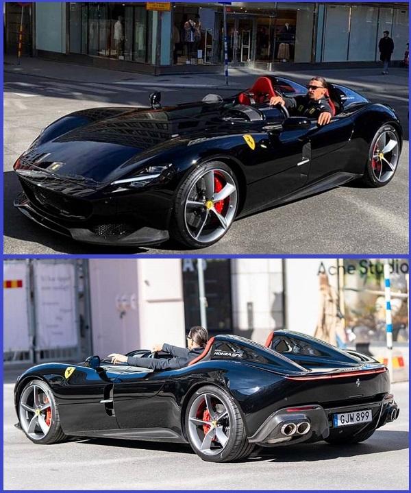 Zlatan-Ibrahimovic-in-an-expensive-Ferrari-Monza-SP2-sports-car