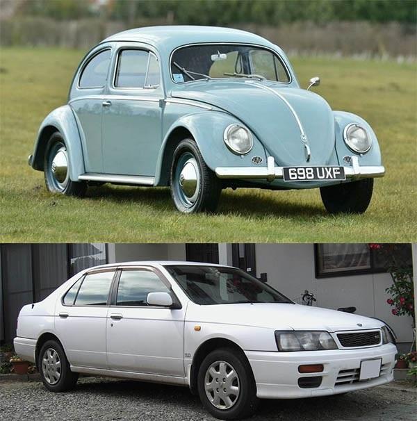 Volkswagen-Beetle-and-Nissan-Bluebird