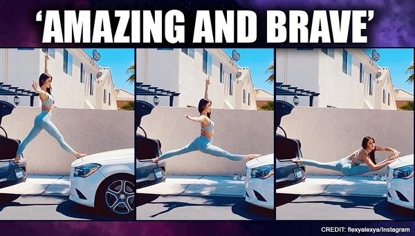 Polish-woman-does-a-split-with-each-leg-on-separate-cars