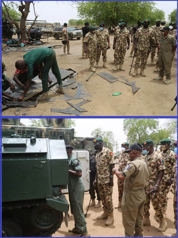 Chief-of-Army-staff-Burutai-inspecting-combat-vehicles-in-Maiduguri-site