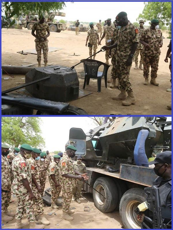 General-Buratai-and-high-rank-army-officers-inspecting-armoured-vehicles-in-Maiduguri