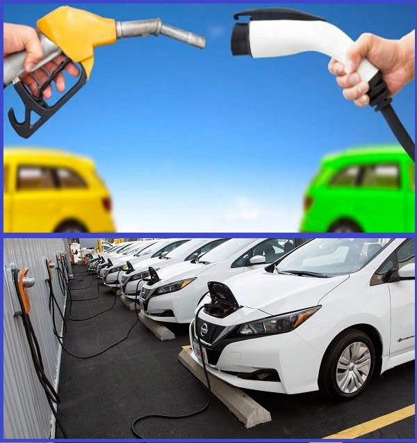 Electric-cars-and-hands-holding-fuel-pumps