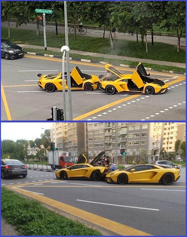 Two-identical-yellow-Lamborghini-involved-in-an-accident