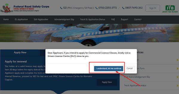 license-portal-pop-up-message