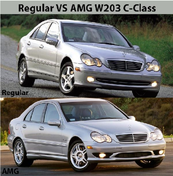 The-W203-Benz-AMG-VS-regular-W203-front-view