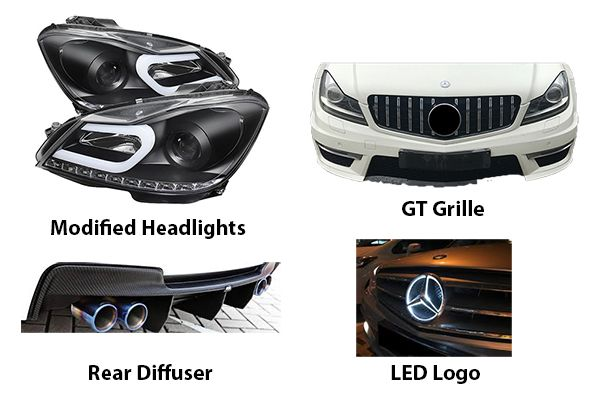 W204-modified-headlights-grilles-diffusers-and-LED-logo