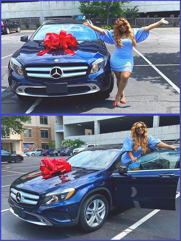 Adenike-Adeleke-posing-with-her-Mercedes-Benz-GLA-250-SUV