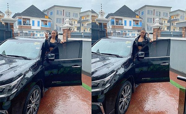 Actress-Mimi-Orjiekwe-poses-with-a-new-Lexus-LX-570-SUV-birthday-gift