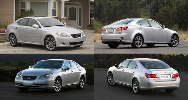 The-Lexus-IS-and-Lexus-ES-front-and-back-view