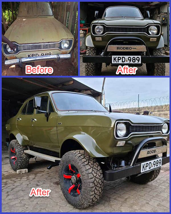 Abandoned-rickety-sedan-car-turned-to-off-roader-vehicle-by-Kenyan-auto-mechanic