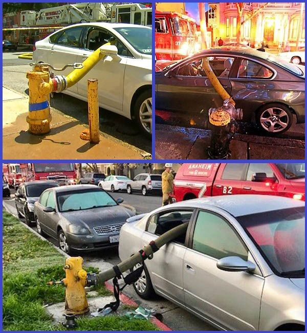 Firefighters-pass-hose-through-smashed-windows-of-cars-blocking-fire-hydrants