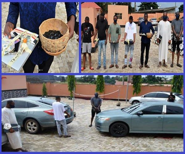 Yahoo-Yahoo-boys-arrested-by-EFCC-in-Ibadan-with-their-cars-laptops-and-fetish-items