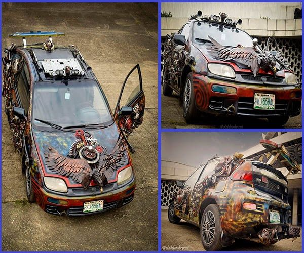 Amazing-art-design-done-on-a-Mazda-323-by-Nigerian-NYSC-member