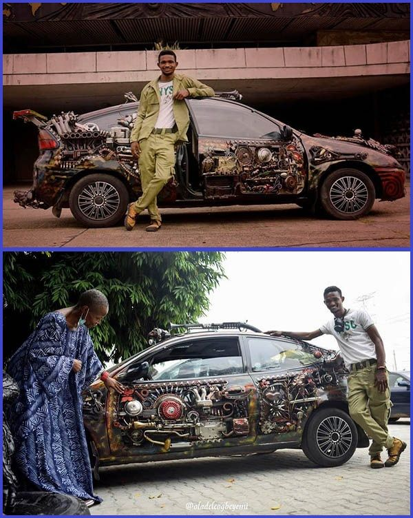 NYSC-member-poses-with-his-Mazda-323-Coupe-that-he-redesigned-with-waste-materials