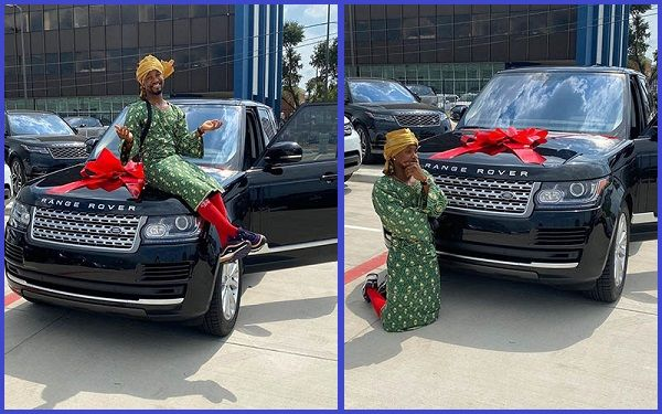 Nigerian-comedian-Oluwakaponeski-poses-with-his-new-Range-Rover-SUV