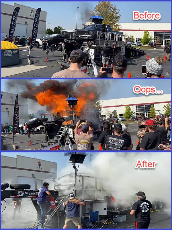Moment-when-the-heavily-tuned-engine-of-a-pickup-truck-exploded-in-the-USA