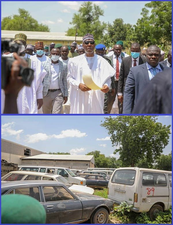 Governor-Zulum-Inspecting-abandoned-vehicles-in-Borno-state