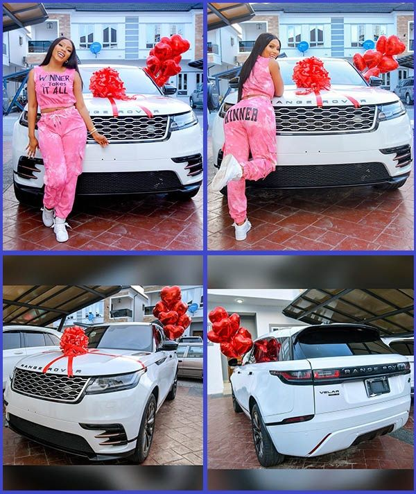 BBNaija-Season-4-winner-Mercy-Eke-poses-with-her-new-Range-Rover-Velar-SUV