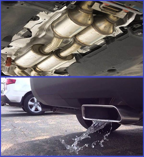Photo-of-a-Catalytic-converter-and-photo-of-Water-coming-out-of-the-exhaust-of-a-car