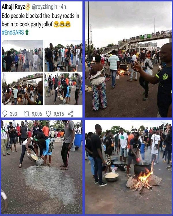 EndSARS-protesters-cook-jollof-rice-on-main-road-in-Edo-State