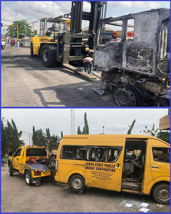 LASEMA-recovering-burnt-trucks-and-destroyed-Toyota-buses-from-police-stations-in-Lagos