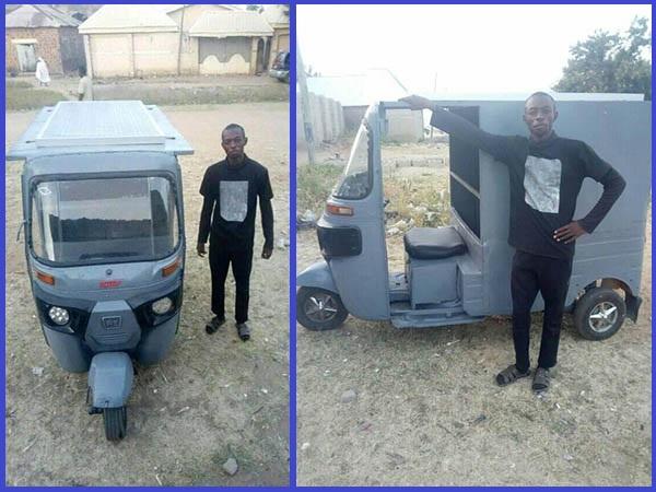 Bauchi-Federal-Polytechnic-student-Kamaluddeen-poses-with-his-converted-solar-Keke-NAPEP