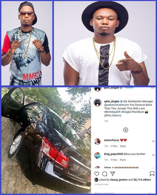 Nigerian-musician-Qdot-revealing-the-Lexus-ES-350-brithday-gift-he-got-for-his-manager