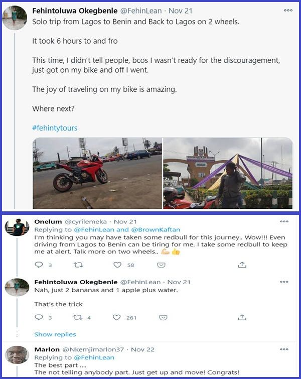 Screenshot-of-Twitter-comments-under-Fehintoluwa Okegbenle-post-about-her-Lagos-to-Benin-bike-trip