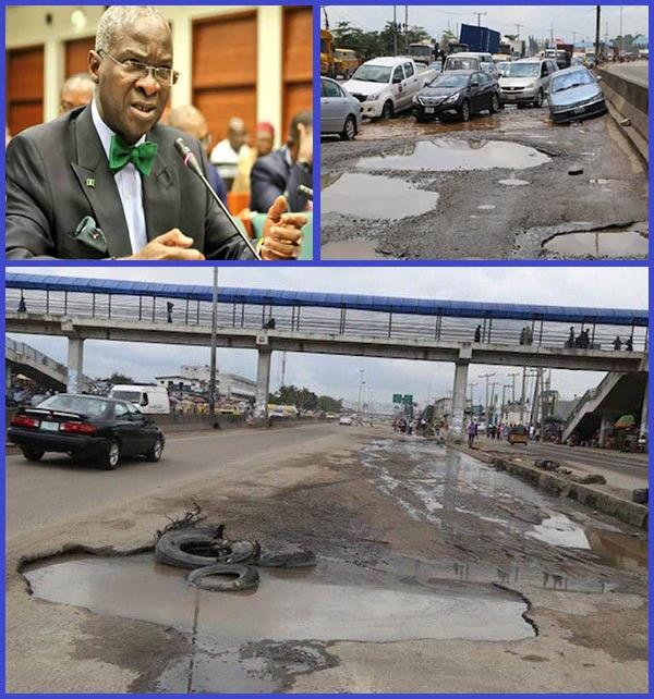 Babatunde-Fashola-and-photos-of-bad-roads-in-Nigeria
